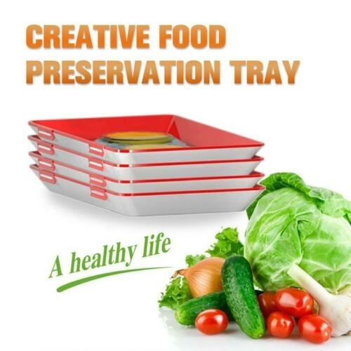 Creative Food Preservation Tray Kitchen Tools Healthy Seal Storage  Container Set Food Keeping Fresh Spacer Organizer