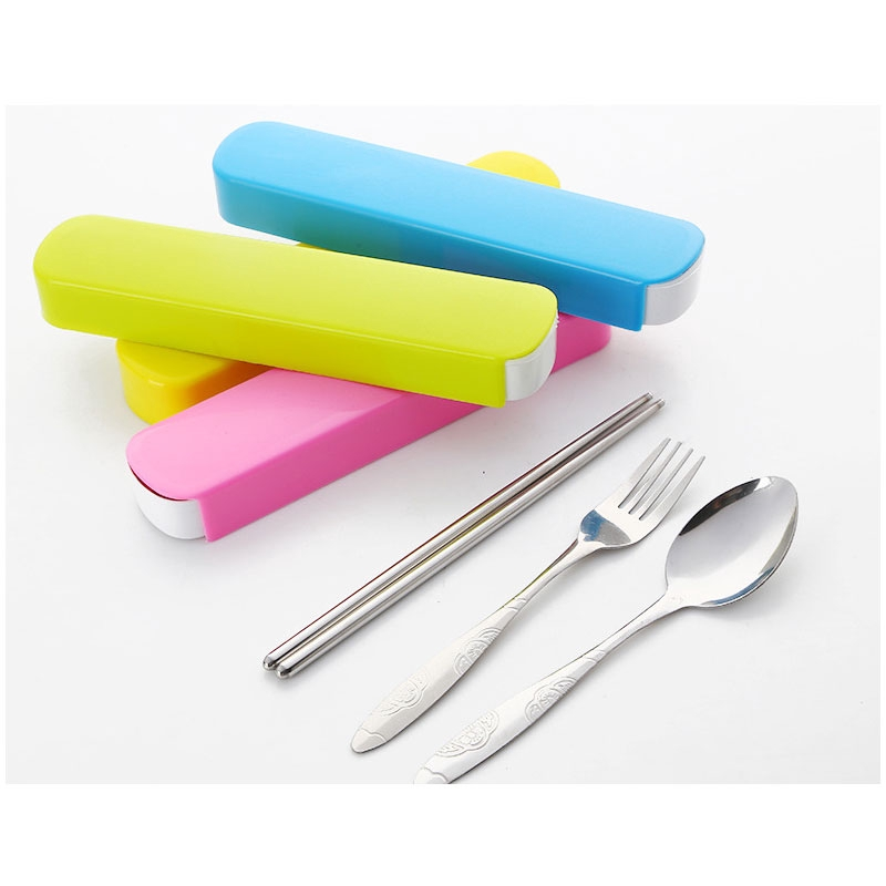 3Pcs//set  Tableware set Travel Camping Stainless Steel Cutlery Box Case Gift Ic