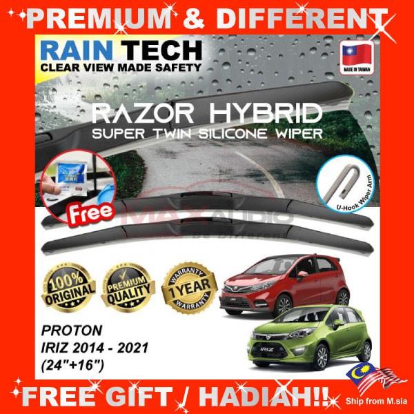 [FREE Gift] PROTON IRIZ (24/16) RAIN-TECH RAZOR HYBRID Silicone Aerodynamic Clean Wipe Safety Wiper Blade