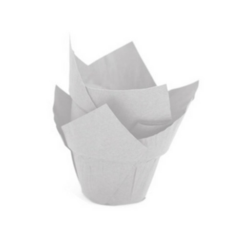 Novacart, Baking Cup, Tulip, With Step, Ø50, White, 150 pcs