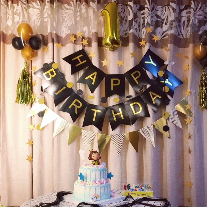 Kids Birthday Party Cute Bunting Banner Hanging Decoration Childrens Day