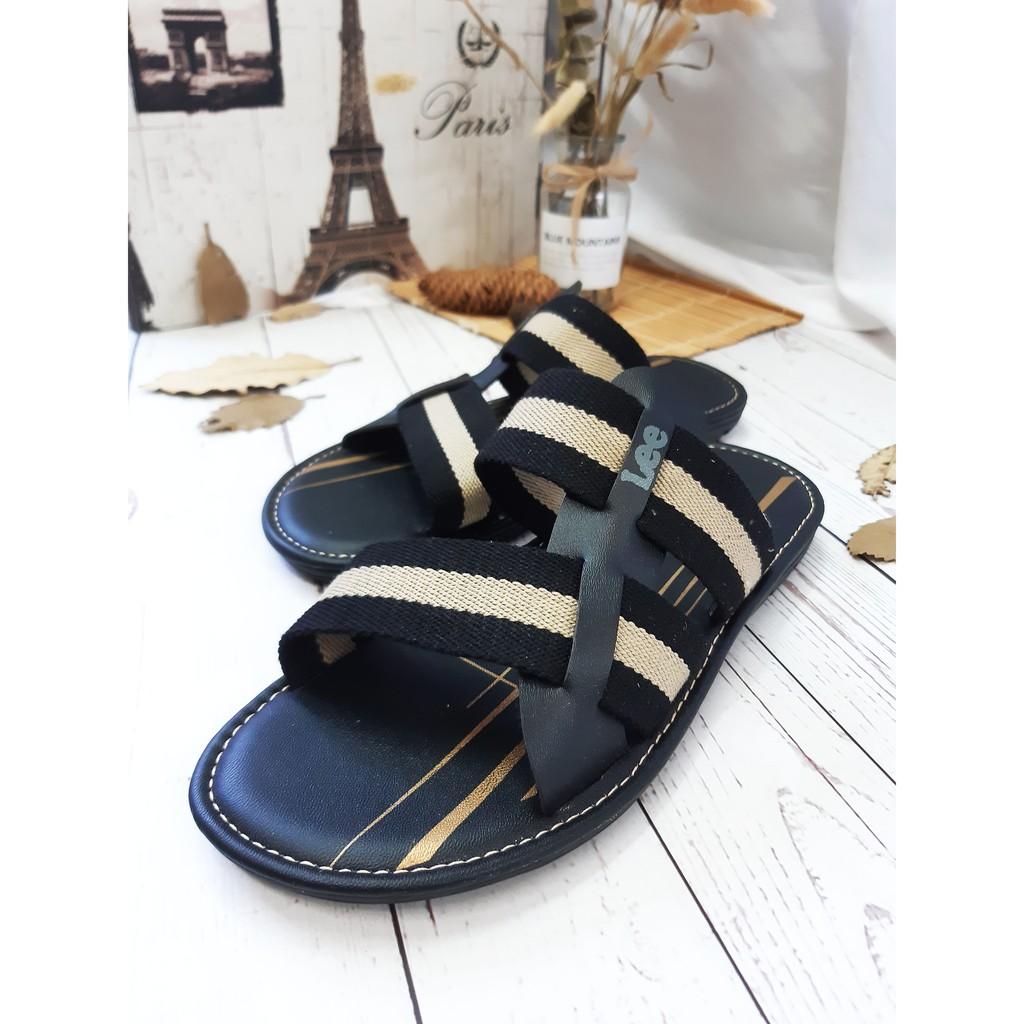 SHL Men PU Leather/Linen 3Design Casual Slip On Sandal Selipar Kasut Lelaki size 39-44【男士拖鞋】