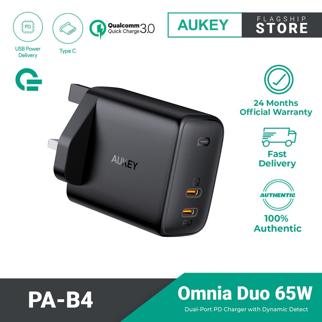 AUKEY PA-B4 Omnia 65W 2-Port Fast Charger Foldable USB C Wall Charger with GaNFast Tech & Dynamic Detect
