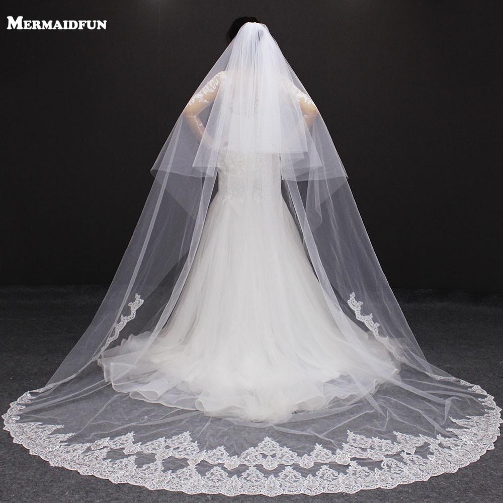 MERMAIDFUN 3 Meters Sequins Lace Long Wedding Veil One Layer Bridal Veil