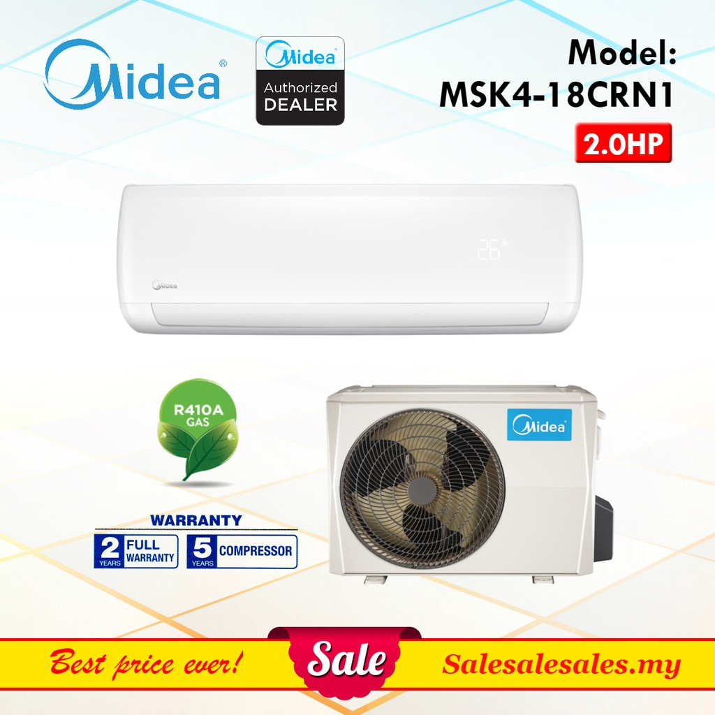 (2HP) Midea R410a / Hisense R32 Aircond 2.0HP with Ionizer Air Conditioner Penghawa Dingin + Installation