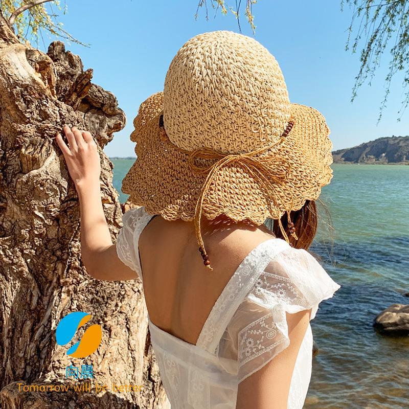 38dbae6e9 Big straw hat women's summer sun hat beach beach hat two-color small fresh  folding sun hat sun hat