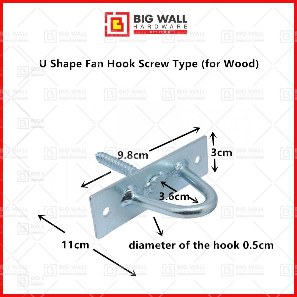 U Shape Fan Hook (Screw Type) for Wood Big Wall Hardware