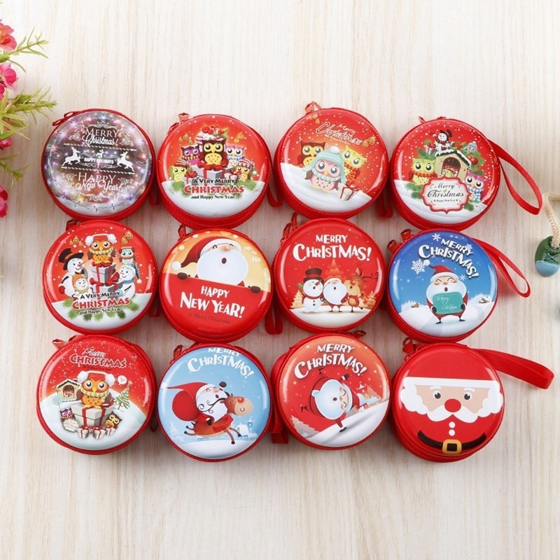 New Christmas Mini Storage Bag Round Coin Purse Decorations Gifts Christmas Tree Pendant