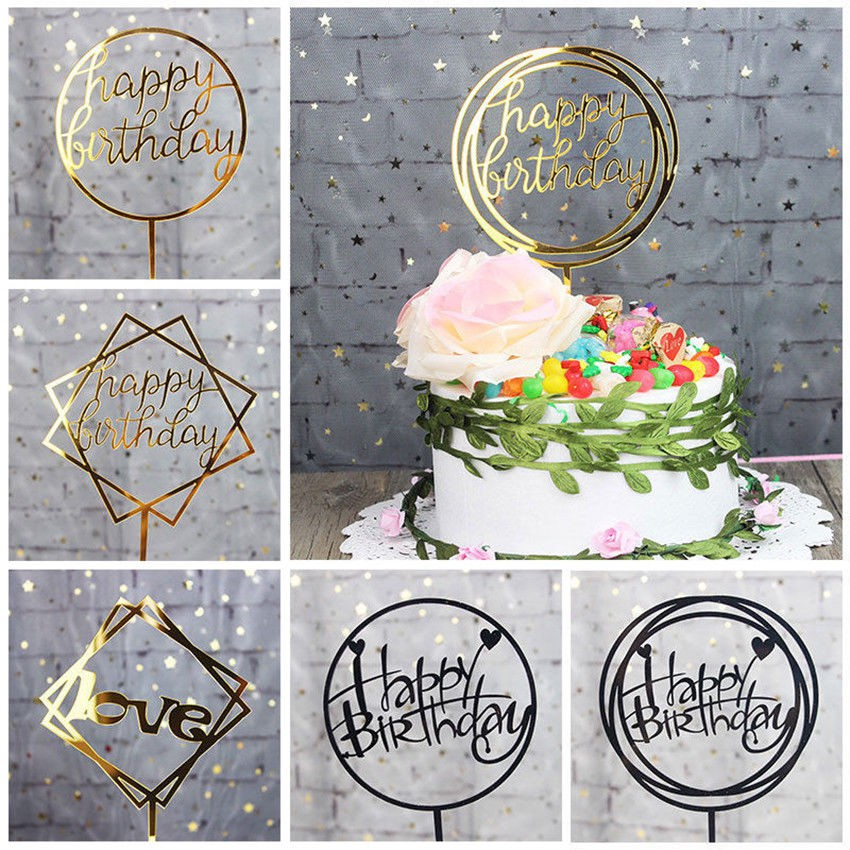 2Pcs Fashion Silver Gold Cake Topper Insert Happy Birthday Party Supplies Decor