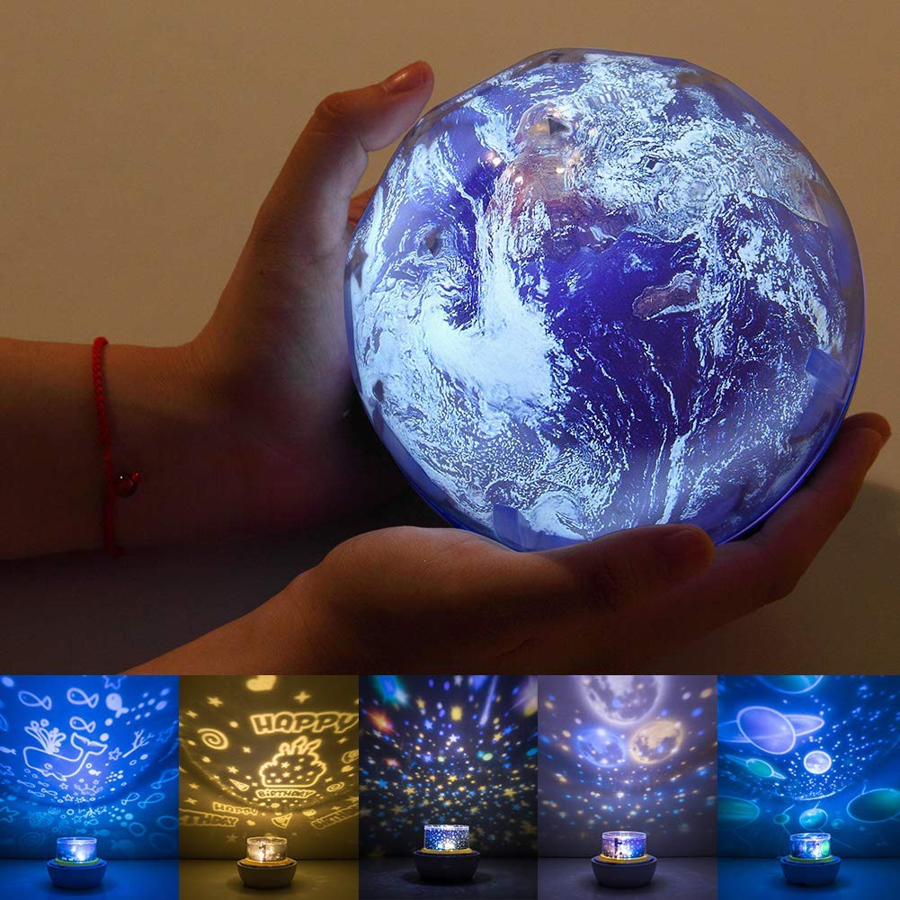 Diy Night Light Baby Star Projector Constellation Lamp 3 Color Universe Galaxy Rotating Relaxing Mood Light Earth