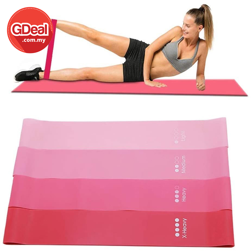 GDeal Pink Gradient Pull Ring Four Pieces Yoga Resistance Ring Resistance Band Fitness Pull Rope