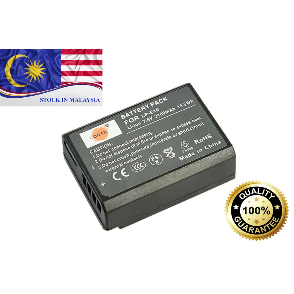 DSTE 2100mAH LP-E10 LPE10 Battery for CANON 1100D 1200D 1300D 1500D (Ready Stock In Malaysia)