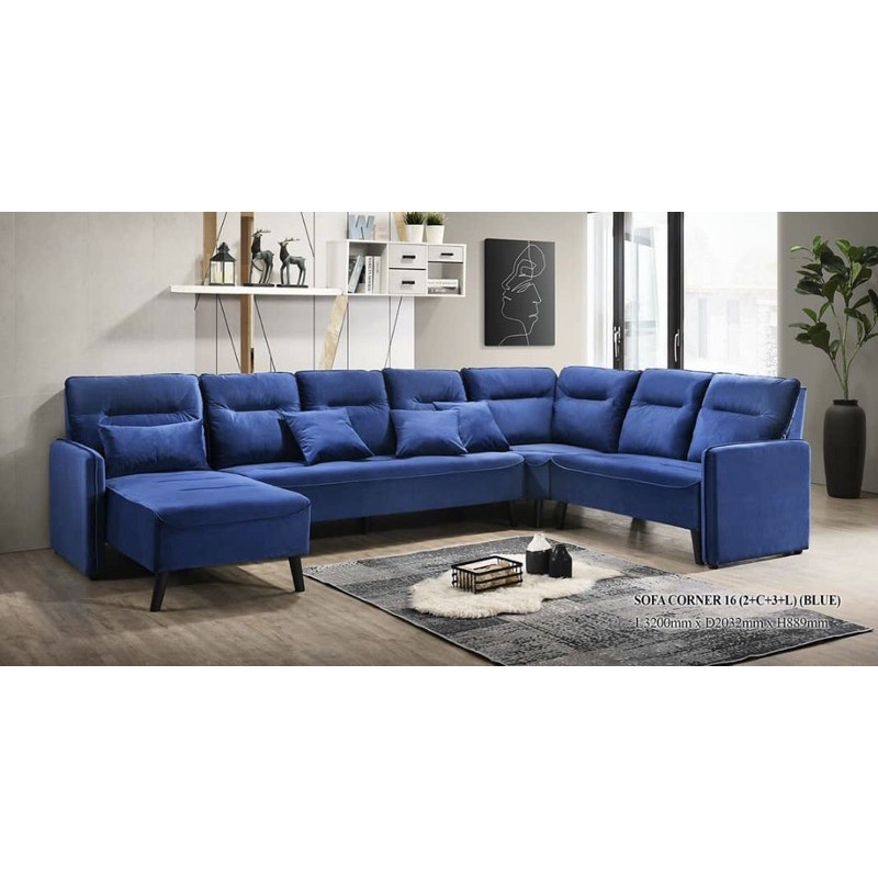 L + 3 seater + Corner + 2 seater, Full Set, Water Repellent Fabric, Blue/Grey!! RM 4,889, LOCKDOWN OFFER, RM 2,889!!