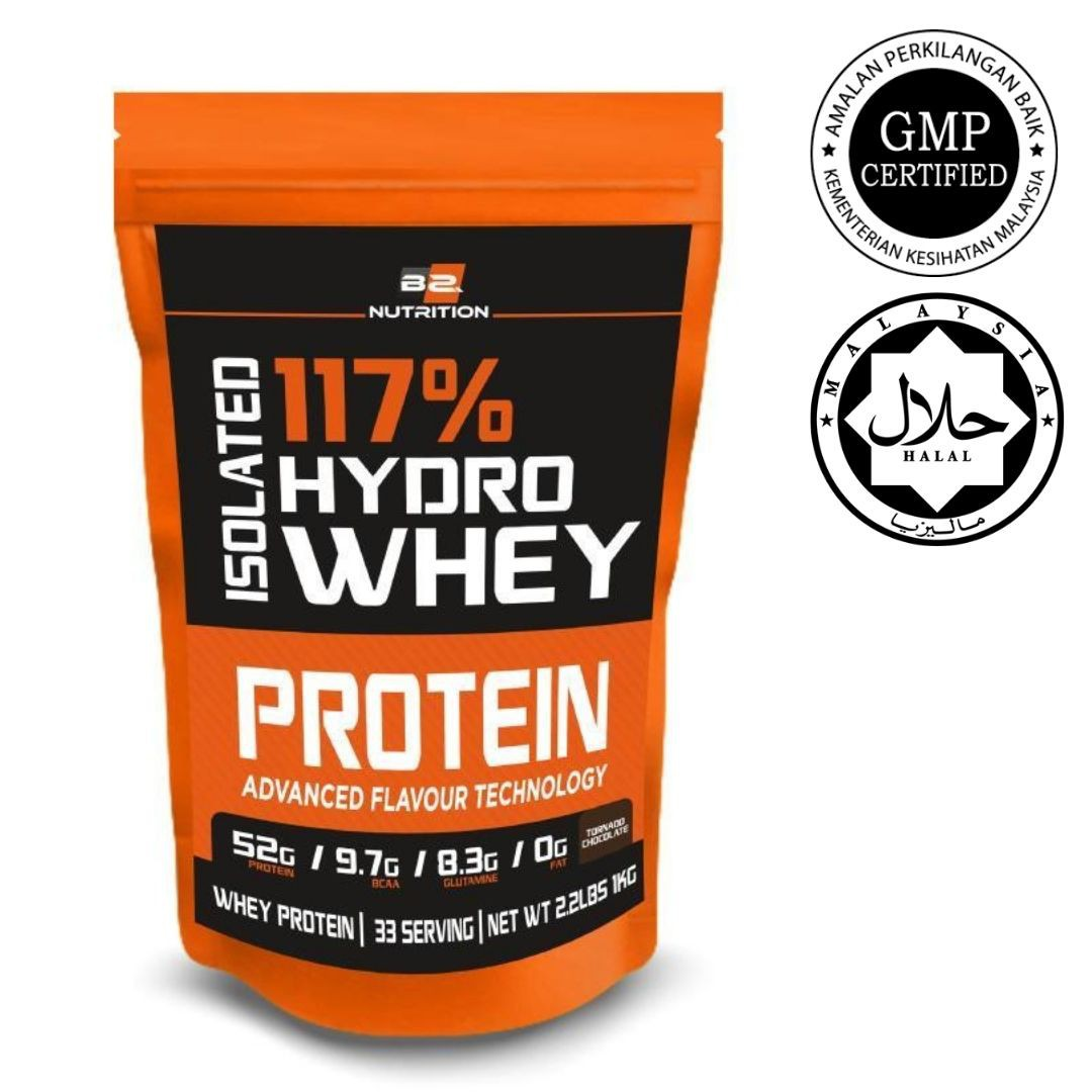 BSFN Hydrowhey 1KG Whey Protein Zero Sugar Halal Certified KKM Approved 33 Scoops Sevings (Chocolate) (READY STOCK)