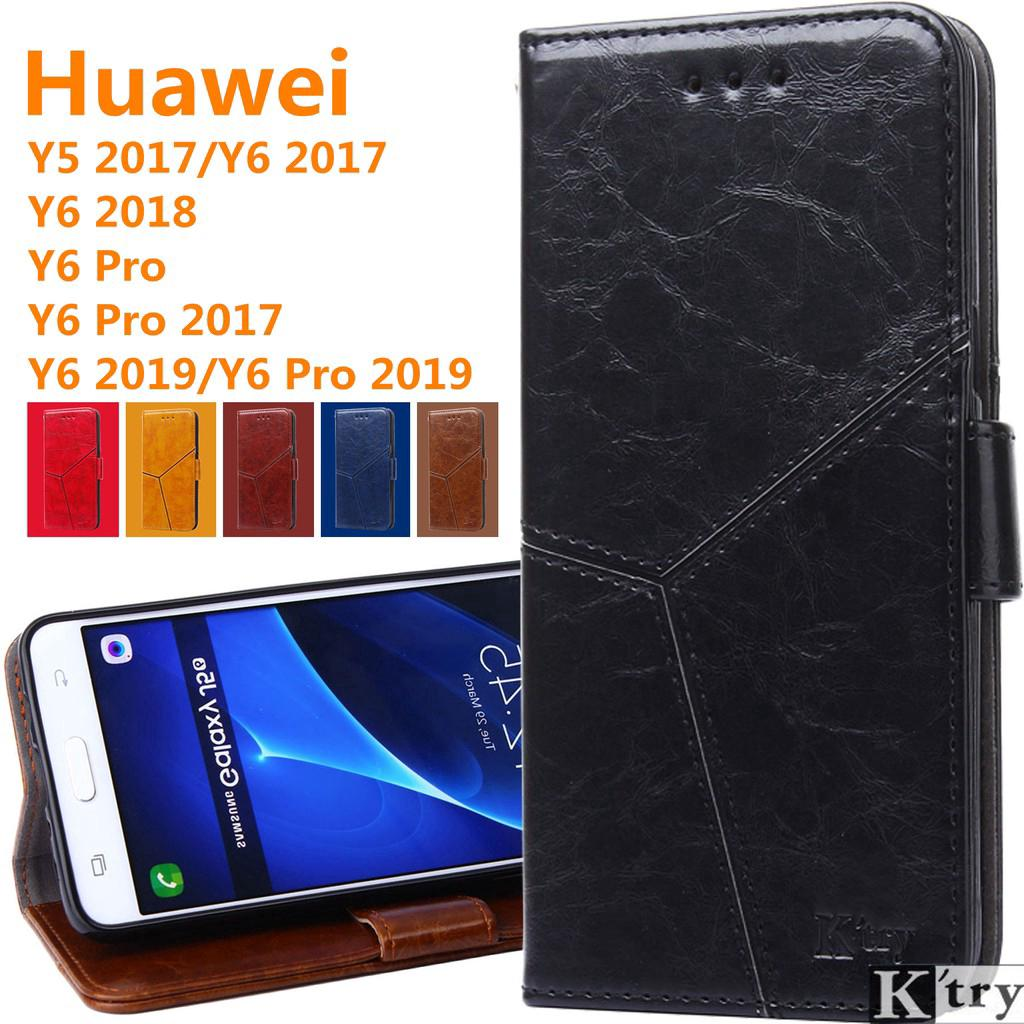 Huawei Y5 Prime Y6 Pro Crystal grain Flip Soft cover Leather