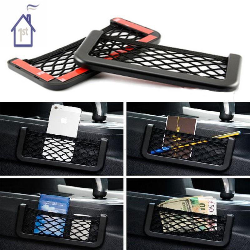 UNIVERSAL CAR SEAT SIDE BACK STORAGE NET BAG PHONE HOLDER POCKET ORGANIZER