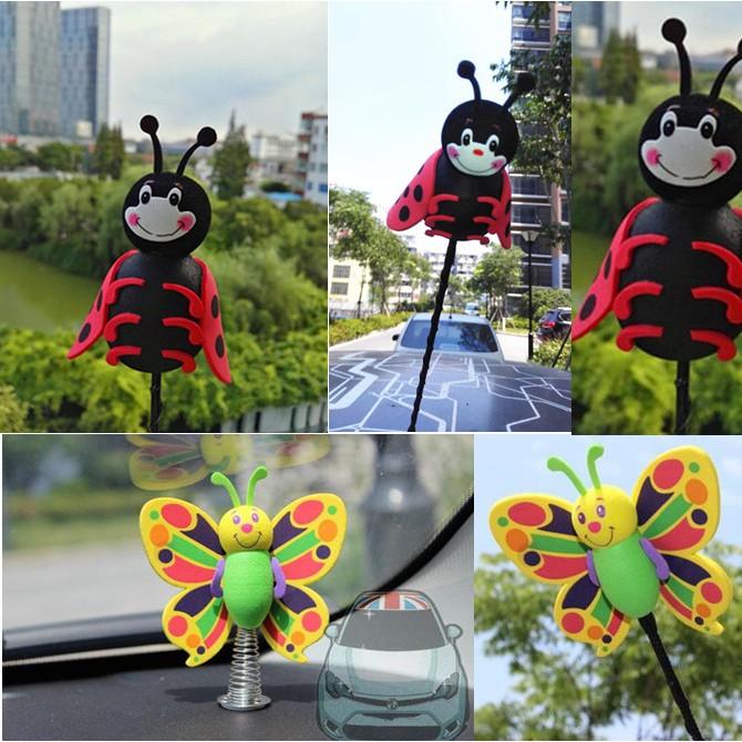 Cute Green Butterfly Black Lady beetle Antenna Balls Car
