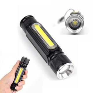 SUN@Portable Zoom XML-T6 COB LED USB Rechargeable Flashlight