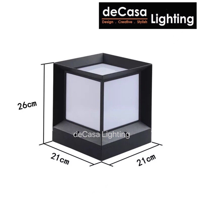 Modern Black Cube Outdoor Pillar Light Decasa Lighting Weather Proof Outdoor Gate Lamp 0160