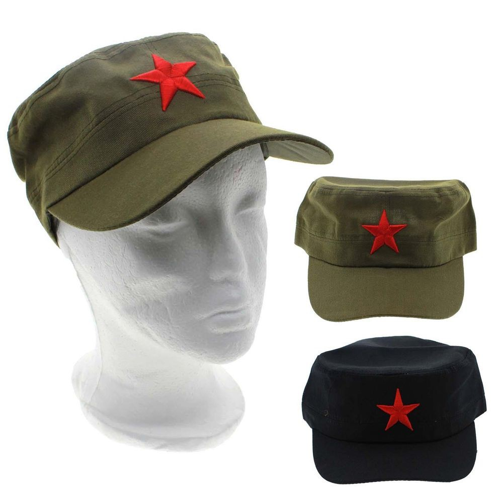 Vintage Green Army Cadet Military Cap Men/'s Red Star Cotton Hat Adjustable Hat