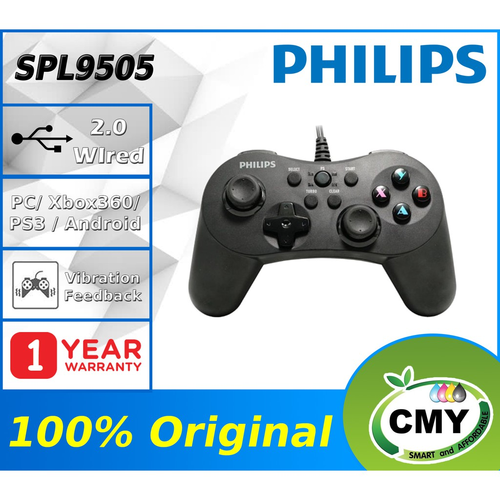 Philips G505 SPL9505 Momentum Series Wired Gaming Controller, Vibration Feedback, Supports PC Gaming