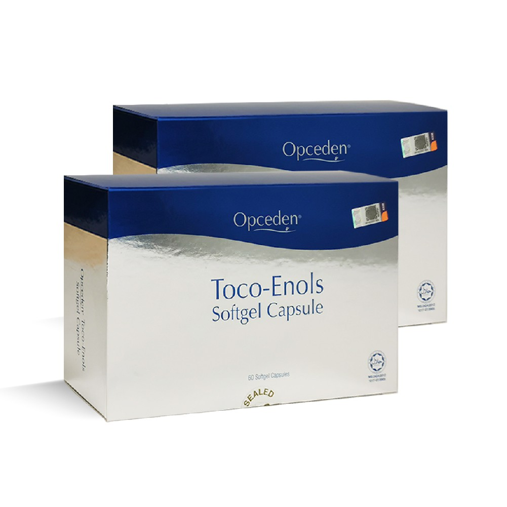 2 Boxes of Opceden Toco-Enols 60 Softgels Capsule x 440g - Enriched with Natural Vitamin E and Good for Antioxidant Used