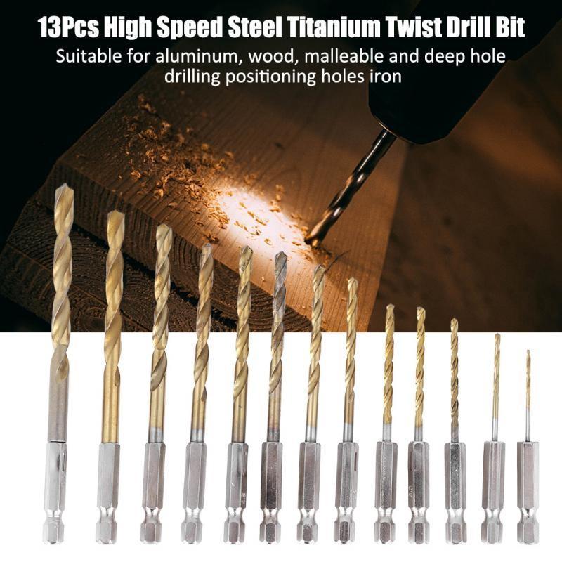 TOUGH TITANIUM COATED 13mm High Speed Steel Drill Bit Aluminium//Alloy Milling
