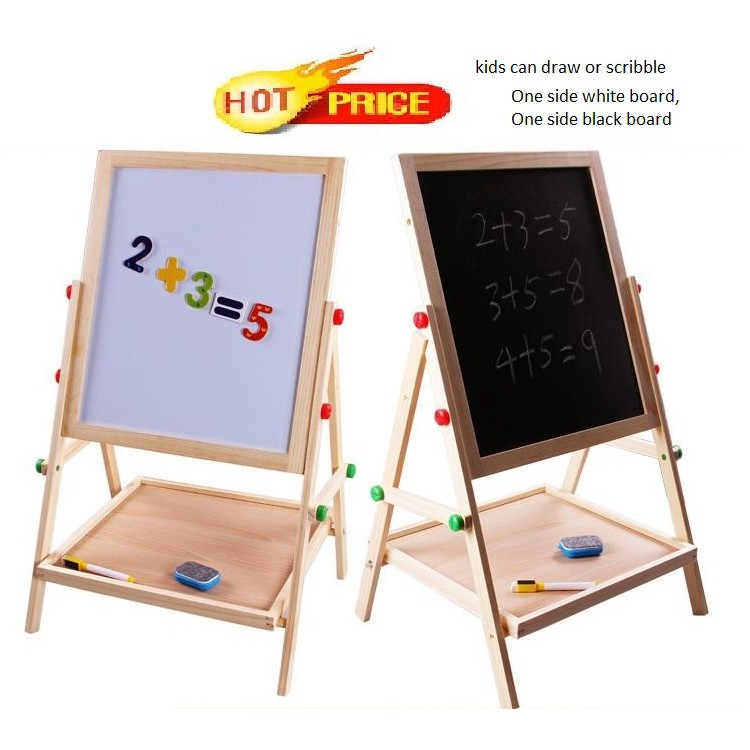 Promo Kids Wooden 2 In 1 Adjule Black And White Board Double Sided Toys Sho Malaysia