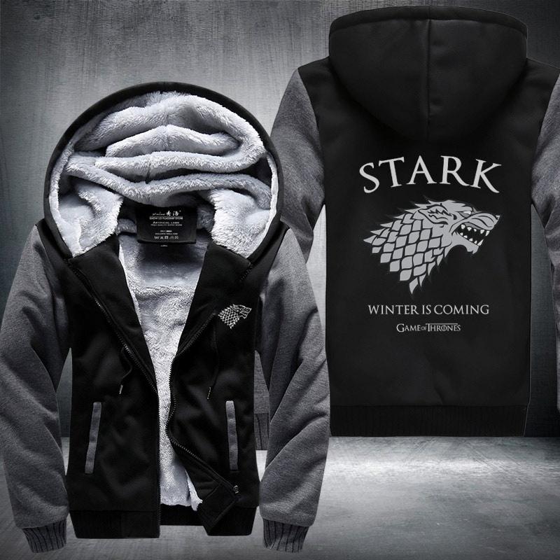 Game of Thrones House Stark Hoodie Winter Fleece Sweatshirt Coat Unisex Jacket