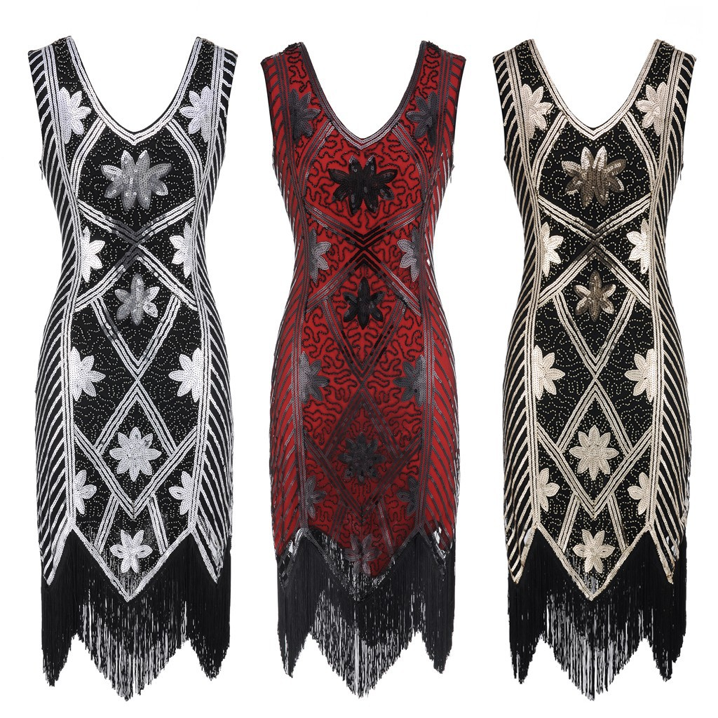 1920 Dresses for Women,Women Sleeveless Fashion Print Vintage Flare Note Party and Evening Dress