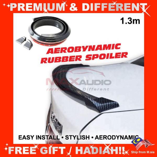[FREE Gift] Universal Fit Aerodynamic 1.3 Meter Flexible Rear Bonnet Trunk Rubber ABS Top Spoiler