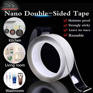 2Pack Multifunctional Double Sided Tape No-Trace//Washable//Anti-Slip//Strong Gel for Wall//Kitchen//Carpet//Photos Fixing -1M//3.28ft Reusable Nano Adhesive Tape