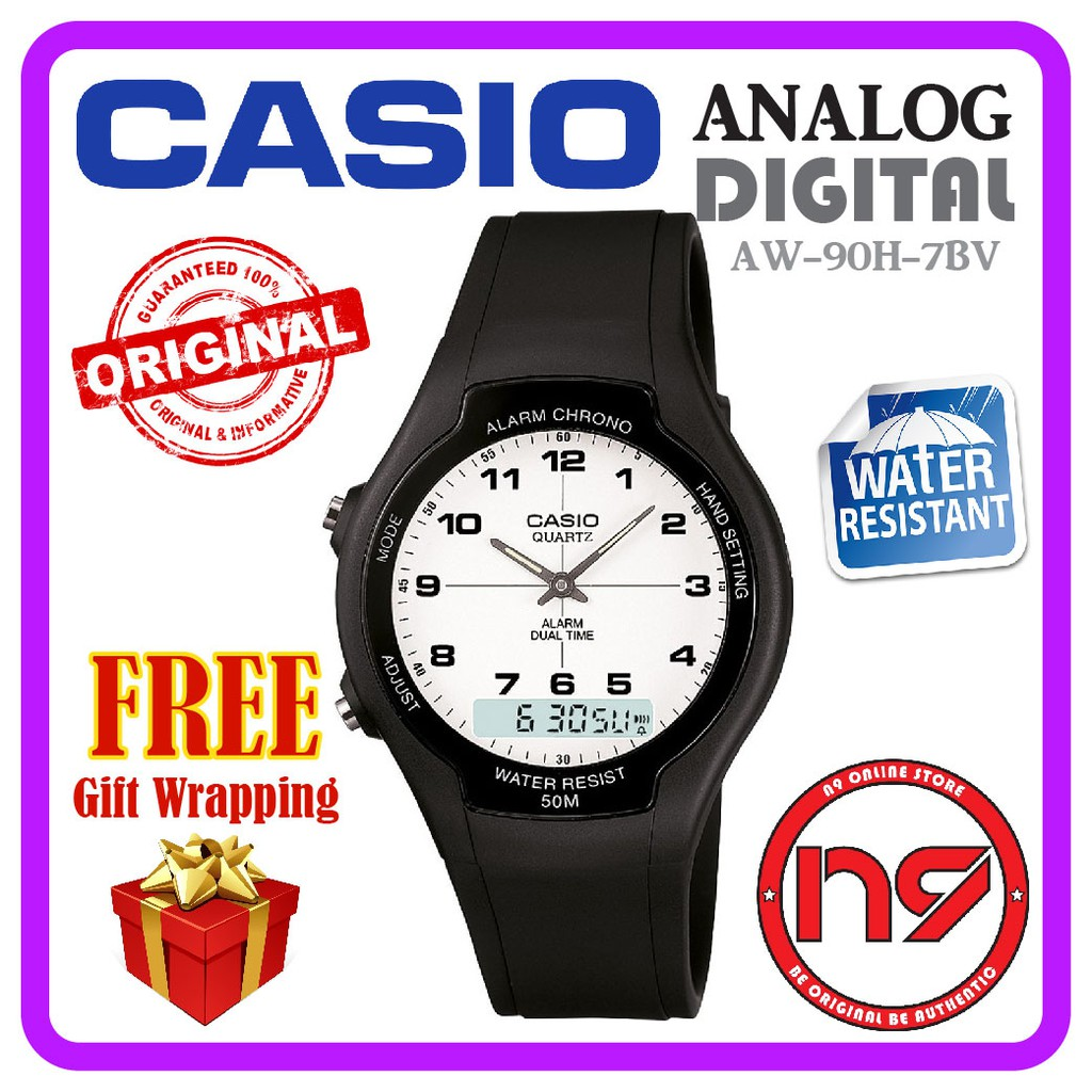 Casio Aw 90h 7bv Analog Digital Dual Time Unisex Watches Casual Jam Original Fossil Fs5182 Set Pilot Fs5174 Include With Tin Box Shopee Malaysia