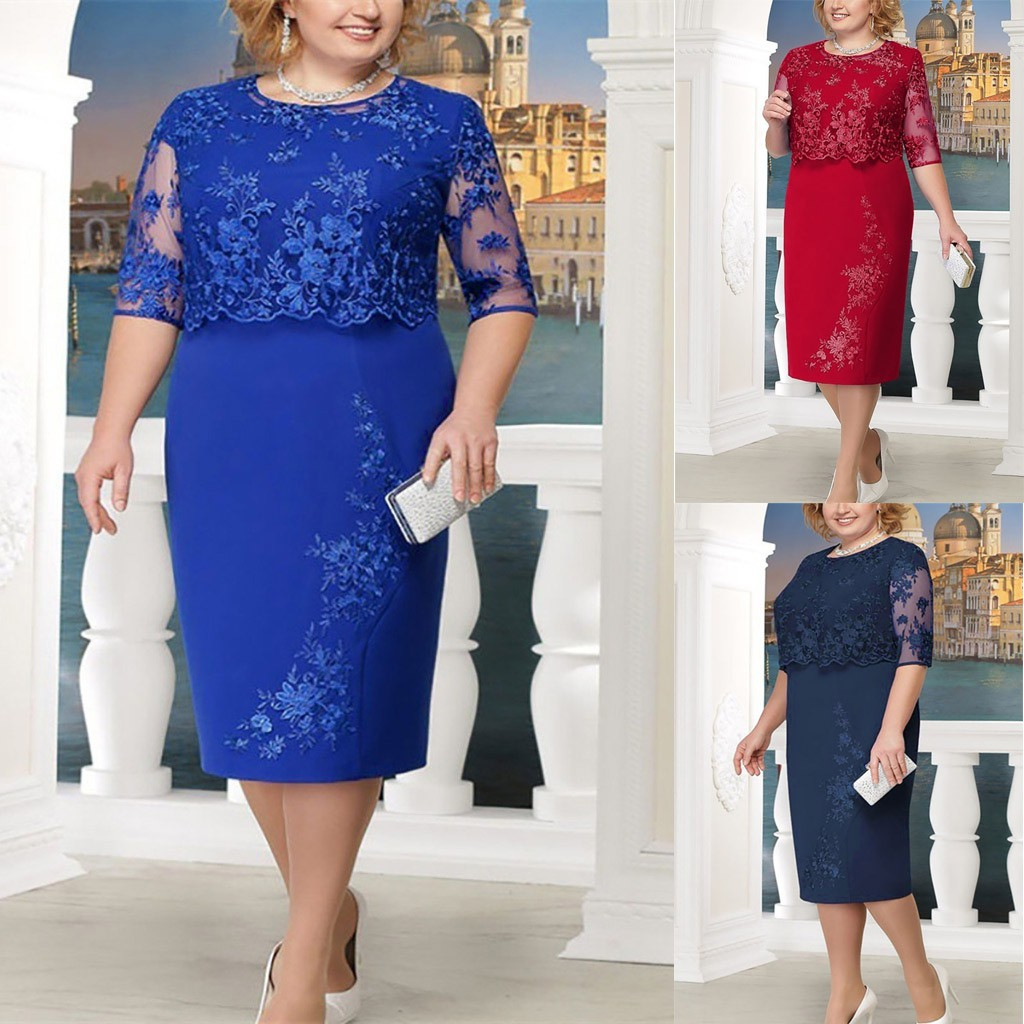 Women Fashion Lace Elegant Mother of Bride Dress Knee Length Plus Size Dress