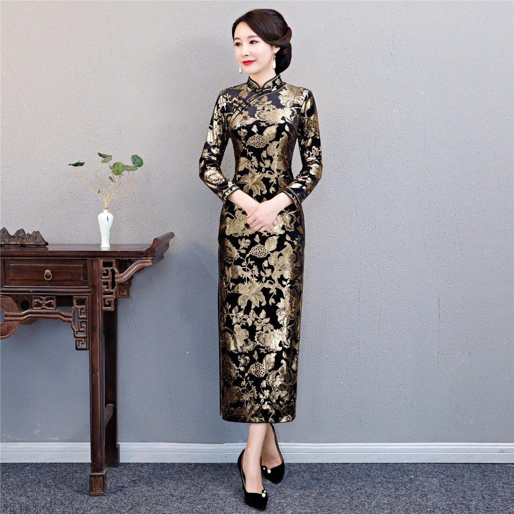 afd076d83 Shanghai Story Long Sleeve Vintage Floral Qipao Long Velvet Cheongsam Dress  Gold   Shopee Malaysia