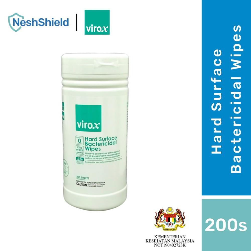 [Ready To Ship] Neshshield Virox Hard Surface Bactericidal Alcohol Wipes Tissues 200SHEETS/BOTTLE
