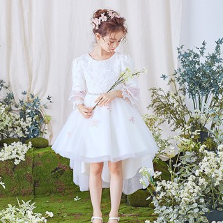 f9f474453eaf2 Girl Flower Fairy Long Flare Sleeve Party Princess Wedding Trailing ...