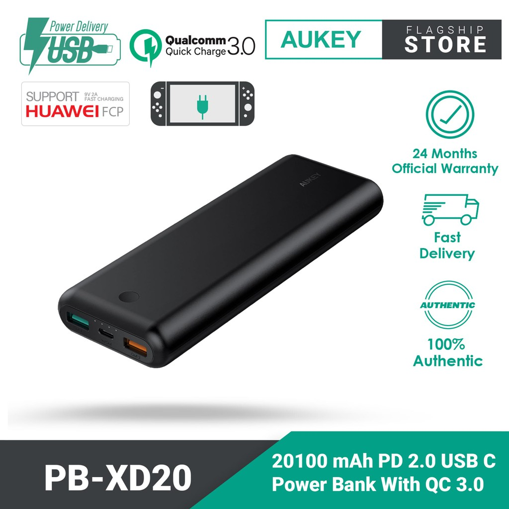 Aukey PB-XD20 Power Delivery 2.0 USB C Power Bank With QC 3.0 (20100mAh)