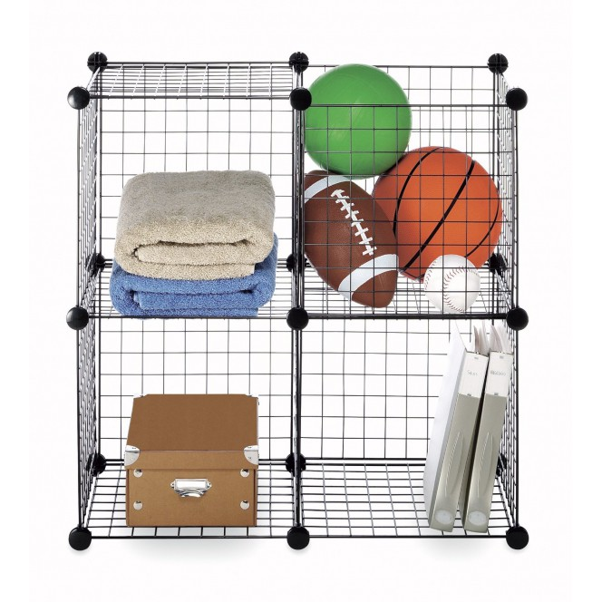 SET OF 4 WIRED MESH STORAGE CUBE - BLACK