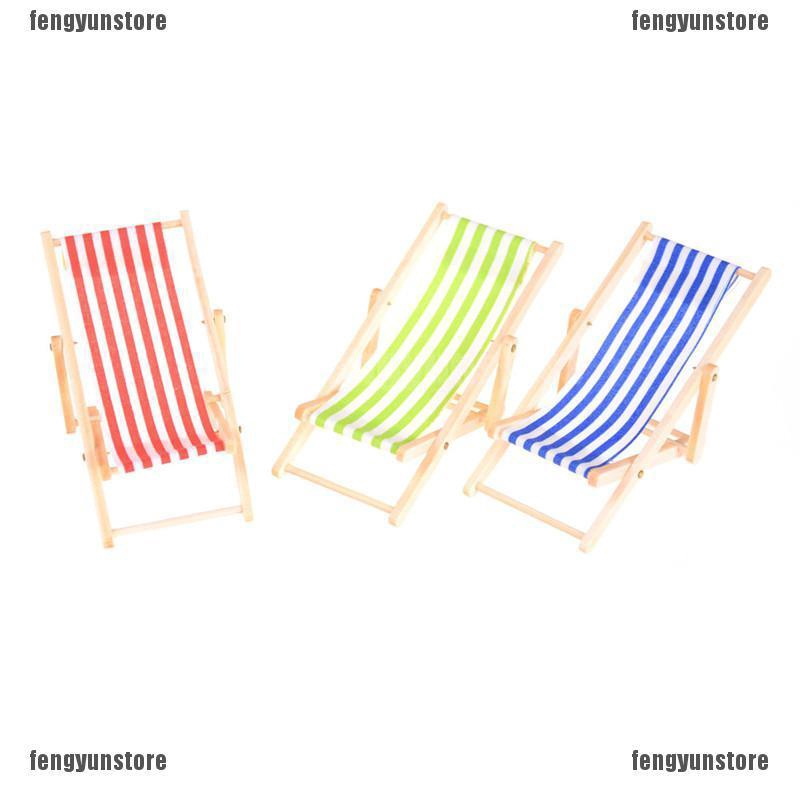 Cute Mini Dollhouse Miniature Garden Furniture Blue Stripe Folding Deck Chair 1x