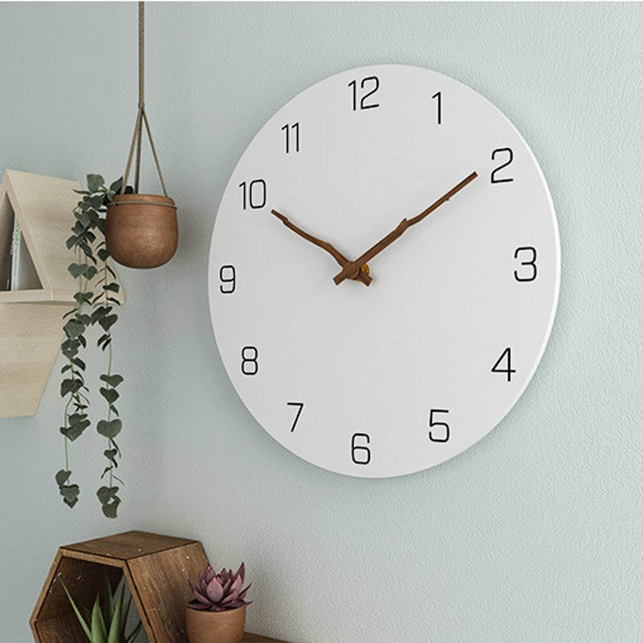12 Inches Modern Style Creative Silent Round Wooden Wall Clock Office Home Decor