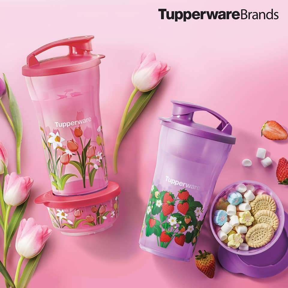 [Ready Stok] Tupperware Quench & Snack Set Tumbler Set 800ml Dessert Bowl Set 200ml Strawberry Strawberi Flower Kid Set