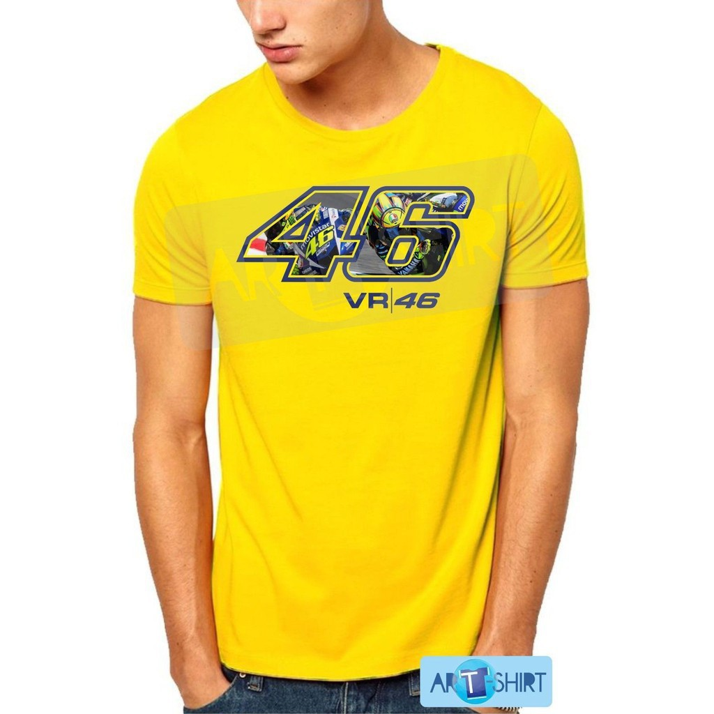 Negro Hombre Valentino Rossi Maglia Camiseta S