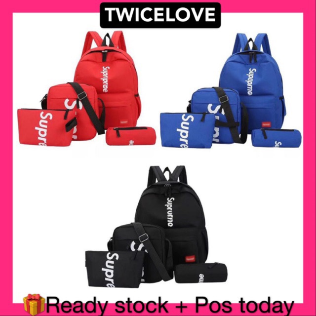 READY STOCKTWICELOVE Super 4 in 1 School Bag Casual Backpack Travel Bag Pack