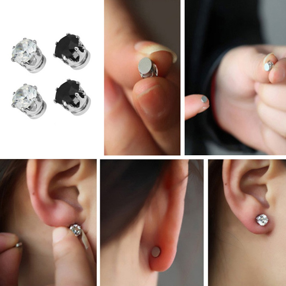 how to put on magnetic stud earrings