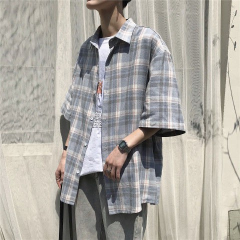 ◐Summer new plaid shirt man han edition loose coat half sleeve leisure  Japanese students joker couple