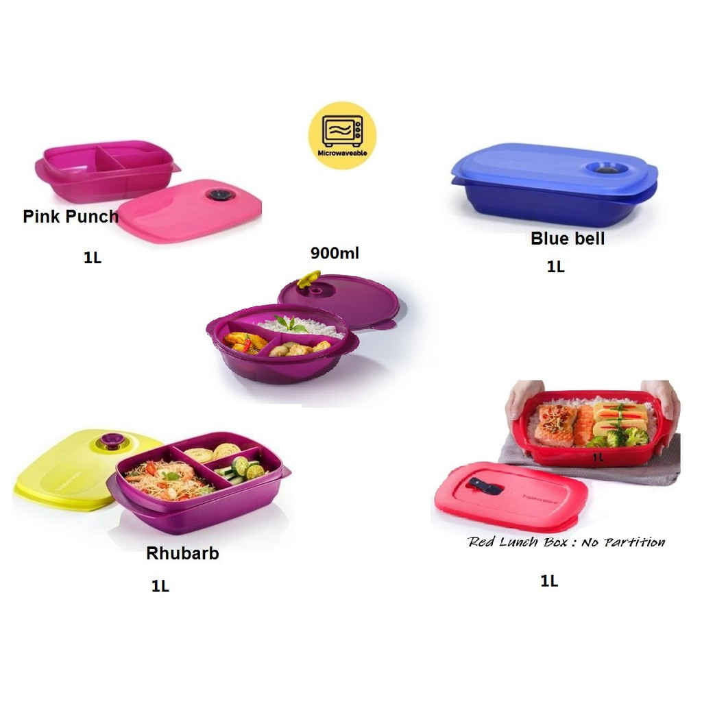 Tupperware Reheatable Divide Lunch Box 1L/ CrystalWave Rect 1L/ Crystalwave Divided Dish 900ml (Microwaveable)