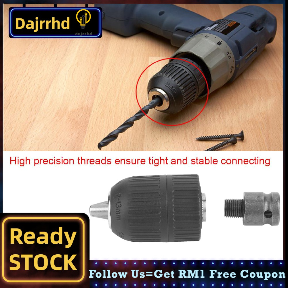 """Drill Chuck 2-13mm Keyless Drill Chuck 1//2-20UNF with 1//2/"""" Chuck Adaptor for Impact Wrench Conversion"""