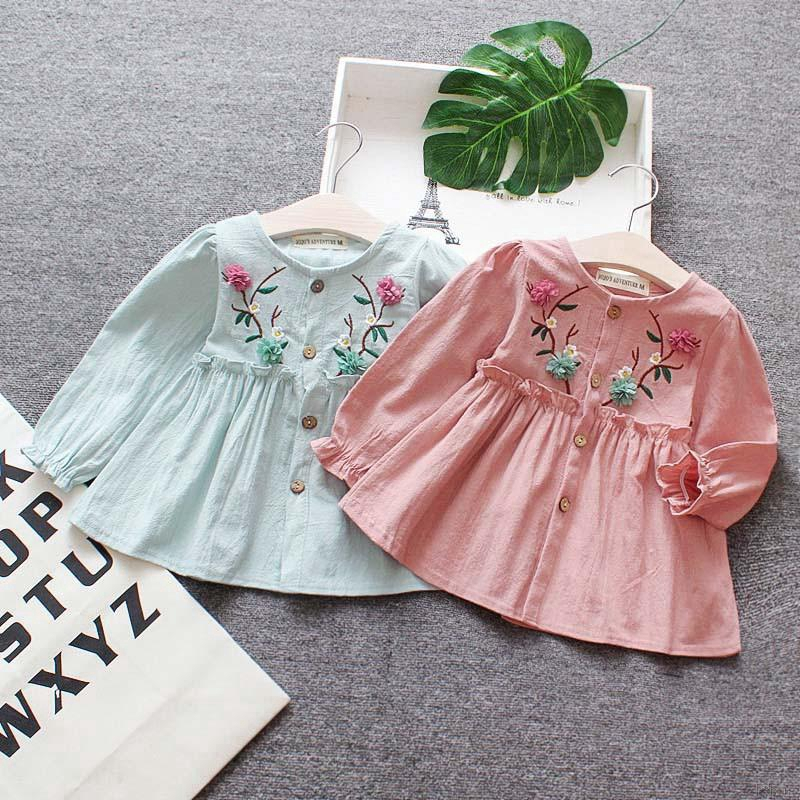 1bda7d1bf026 Summer Girls Flower Dress Clothing Long Sleeve Floral Print Kid Dresses  Gift