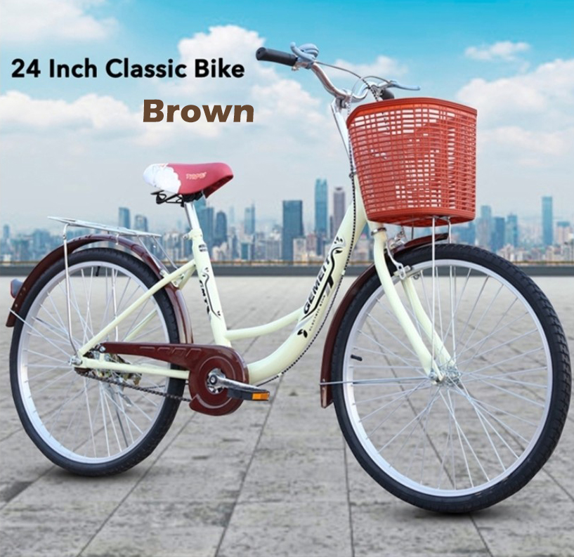 GDeal 24 Inch Classic Bike Korean Style Women Bicycle And FREE Front Storage Basket